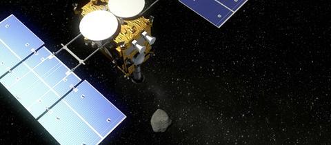 Graphische Darstellung derRaumsonde Hayabusa2 am Asteroiden Ryugu