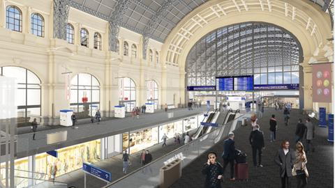 Visualisierung des Neubaus der B-Ebene am Hauptbahnhof