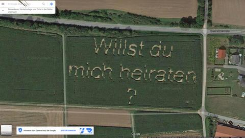 Google-Maps-Screenshot mit Heiratsantrag.
