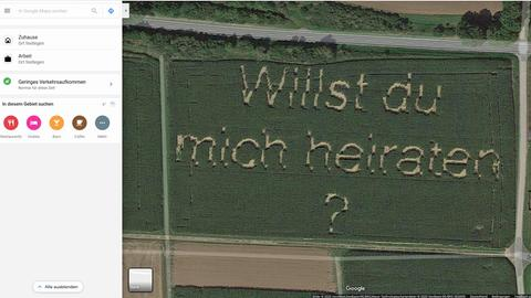 Google-Maps-Screenshot mit Heiratsantrag.