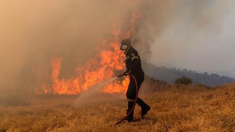 Ein Feuerwehrmann versucht ein Feuer in Griechenland zu löschen.