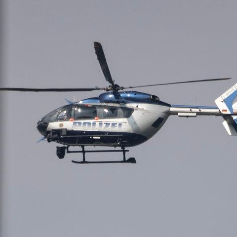Helikopter der Polizei über Frankfurt