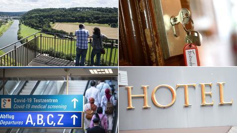 Collage_Hotel_Zimmerschlüssel:Abflughalle_Aussicht