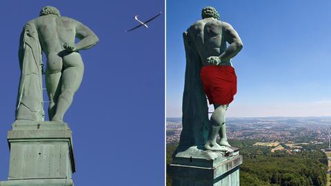 Ein Bild der Statue mit und eins ohne Badehose.