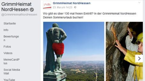 Hessen: Der Kasseler Herkules trägt auf Facebook nun Badehose