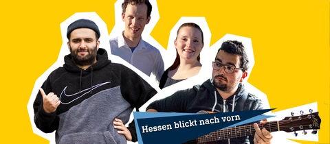 """Die Grafik zeigt Portraits der Protagonisten Shadi, Simon, Melanie und Johannes vor einem gelben Hintergund. Unten ein Label aus zwei sich überlappenden Dreiecken, deren Spitzen nach oben rechts zeigen und ein Schriftzug """"Hessen blickt nach vorn""""."""
