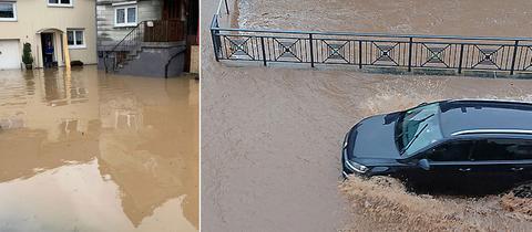 Überschwemmte Höfe, überschwemmte Sraßen in Romrod