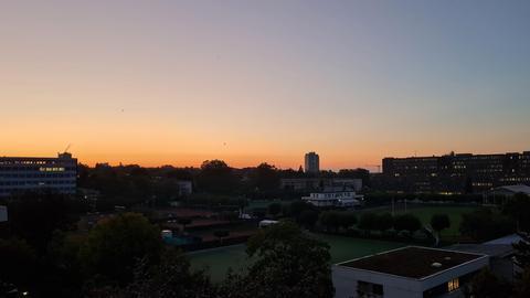 Sonnenaufgang über dem hr-Gelände in Frankfurt