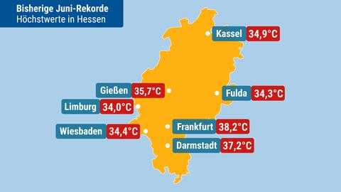 Zu sehen ist eine Karte mit hessischen Höchsttemperaturen im Juni.