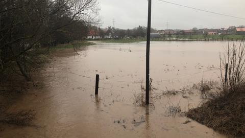 Hochwasser an der Haune in Petersberg-Melzdorf (Fulda)