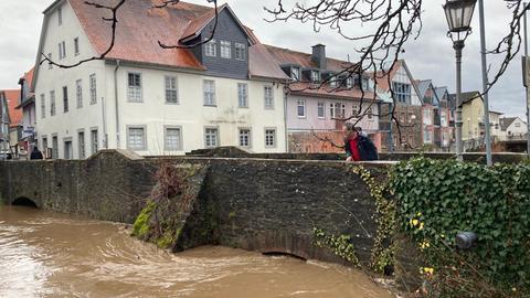 Hochwasser an der Nidda in Nidda