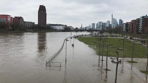 Überflutete Uferpromenade im Frankfurter Osten