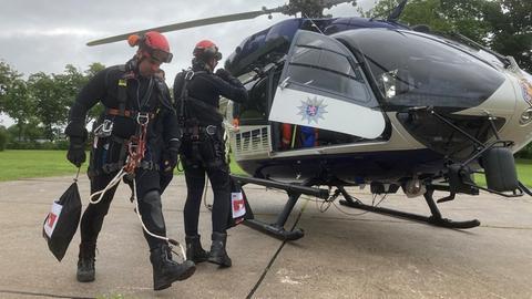 Spezialkräfte der Höhenrettungsgruppe der Feuerwehr Wiesbaden
