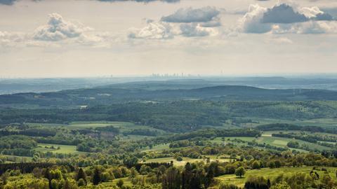 Blick vom Hoherodskopf nach Frankfurt.