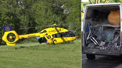 Rettungshubschrauber und Ladefläche eines Kleinbusses