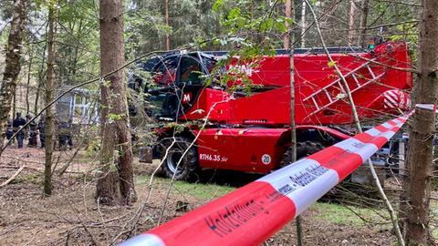Ein Hubwagen nähert sich den Baumhäusern