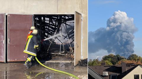 Feuerwehreinsatz in Karben, die Rauchsäule war kilometerweit sichtbar