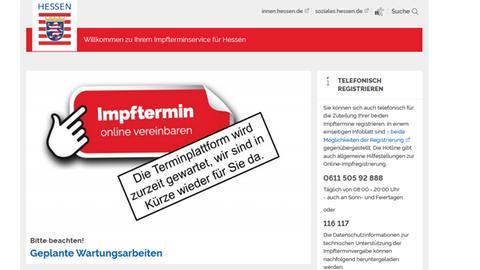 Impftermin-Plattform des Landes (Screenshot)