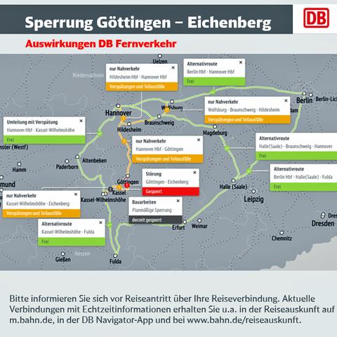 Karte zur Sperrung der Bahnstrecke Göttingen - Eichenberg