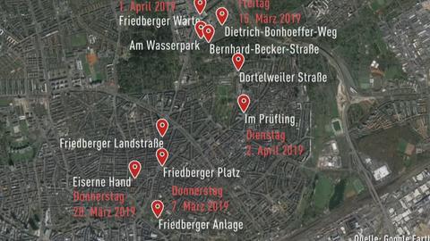 Karte Übergriffe Frankfurt