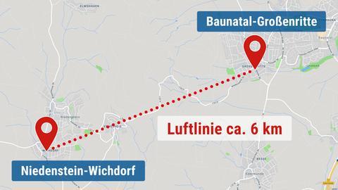 Karte, welche die ca. 6 km lange Strecke anzeigt, die der Kater täglich läuft.