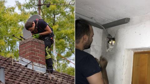 Bildkombo Feuerwehrmann auf Dach und Katze guckt aus Loch in Wand