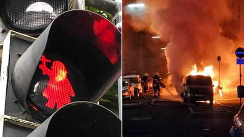Bonifatius-Ampel und Feuerwehreinsatz.