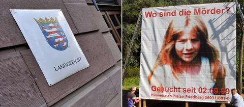 Landgericht Gießen/ Plakatstellwand mit Foto von Johanna