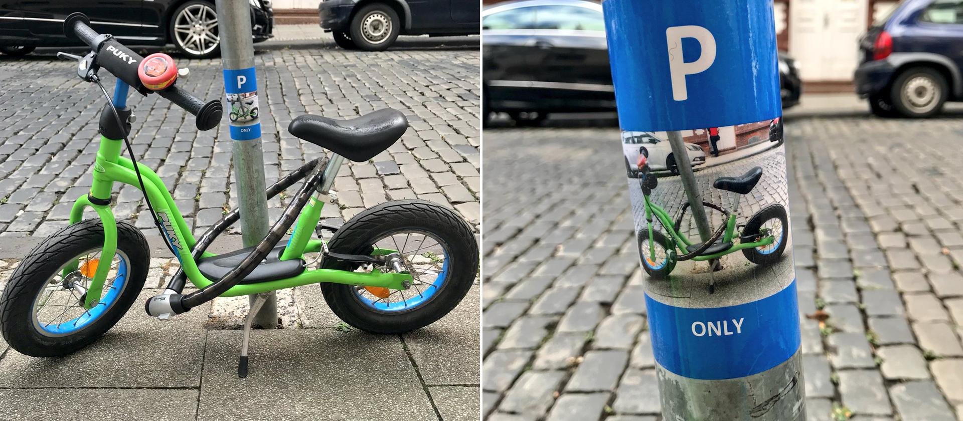 Bildkombo Kinderfahrrad Parkplatz