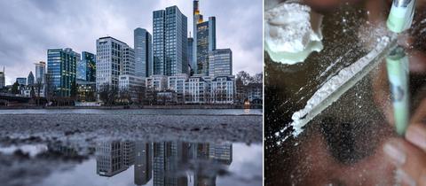 Bildkombo: Skyline Frankfurt/ Kokain auf einem Spiegel ausgelegt