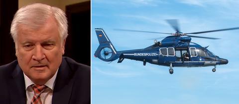 Bildkombo Seehofer - Hubschrauber der Bundespolizei