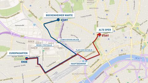 Route kurdischer Demo durch die Frankfurter Innenstadt