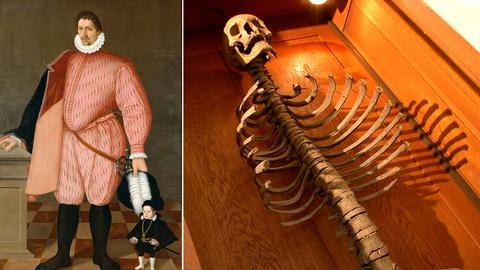 Ölgemälde mit großem und kleinen Mann und Skelett