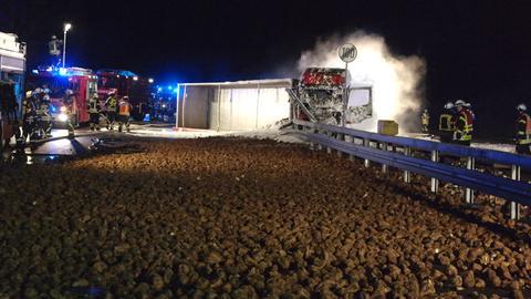 Lkw-Brand auf A49 bei Baunatal