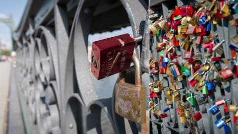Nachher-Vorher-Vergleich: Eiserner Steg in Frankfurt fast ohne und mit Liebesschlössern
