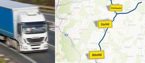Lkw und Karte mit Strecke in Osthessen