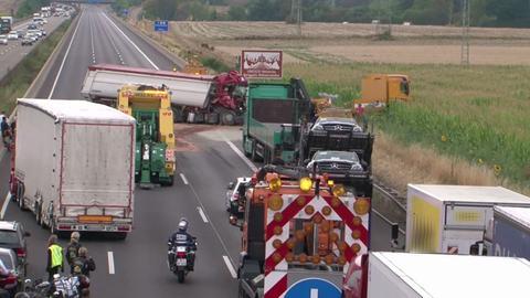 Unfallstelle auf der Autobahn.