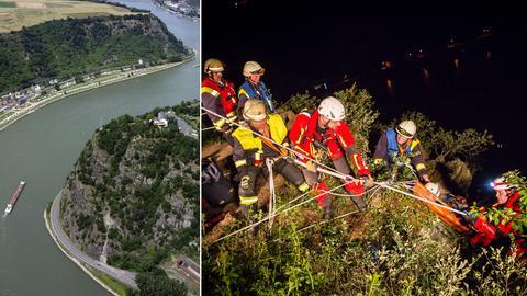 Loreleyfelsen und Rettungskräfte bei der Bergung des Mannes.