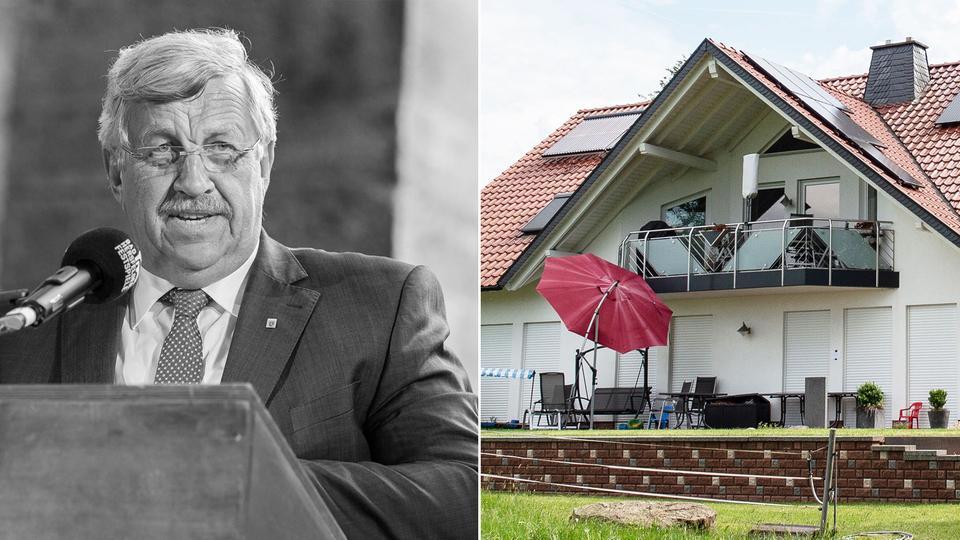 Die Bildkombination zeigt ein Portrait von Lübcke und dessen Wohnhaus