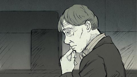 Der Verteidiger von Markus H., Björn Clemens, im Profil. Er fasst sich mit einer Hand ans Kinn und blickt nachdenklich nach links.
