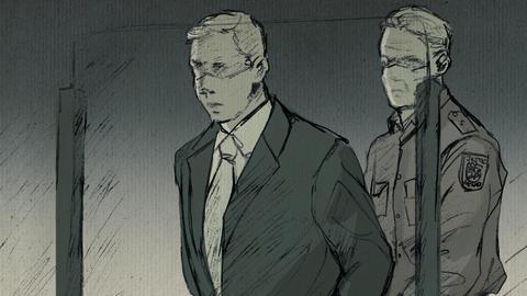 Die Illustration zeigt Stephan Ernst und einen Vollzugsbeamten im Gerichtssaal.