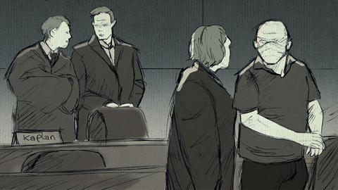 Zeichnung Gruppenbild im Gerichtssaal