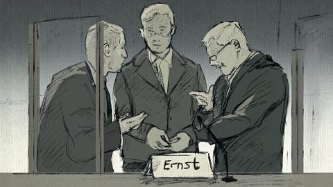 Wegen Mordes an Walter Lübcke angeklagter Stephan Ernst mit seinen beiden Verteidigern Hannig (r.) und Kaplan