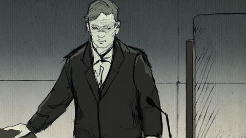 Zeichnung von S. Ernst, wie er sich im Gericht hinsetzt.