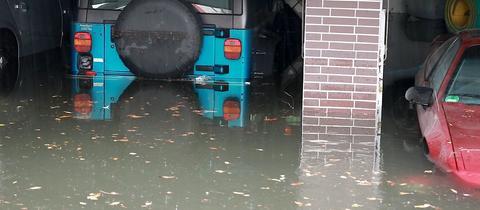 Überflutete Garage in Mainhausen
