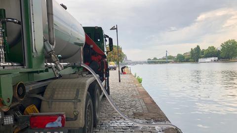 Der Tankwagen pumpt Wasser durch einen Schlauch aus dem Main.