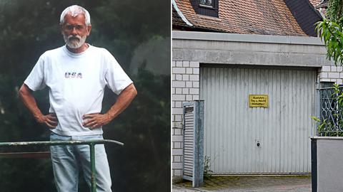 Collage: Links der mutmaßliche Serienmörder Manfred Seel, rechts die von ihm angemietete Garage, in der die Leichenteile der ermordeten Prostituierten Britta Diallo gefunden wurden.