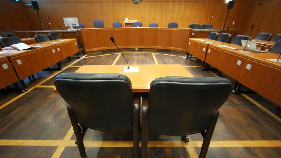 Gerichtssaal im Landgericht Frankfurt