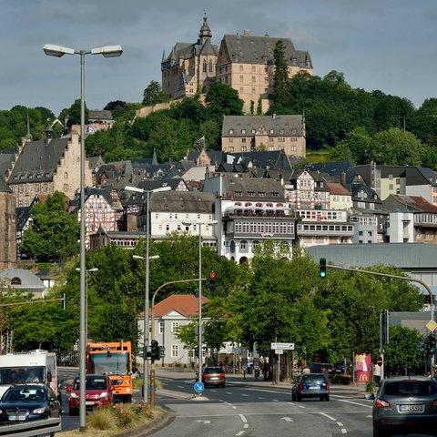 Blick auf die Oberstadt in Marburg