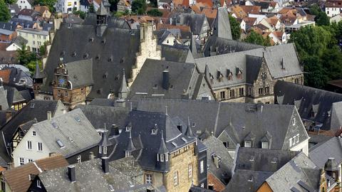 Blick auf die Marburger Altstadt aus der Vogelperspektive.